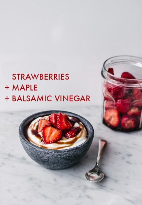 yogurt y frutillas y balsamico