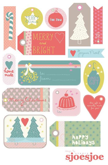 Etiquetas Coloridas de Navidad