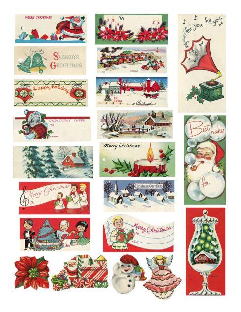 Etiquetas de Navidad Vintage